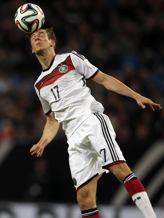 Germany's Leon Goretzka goes for a header during a friendly soccer match between Germany and Poland in Hamburg, Germany, Tuesday, May 13, 2014. (AP Photo/Michael Sohn)