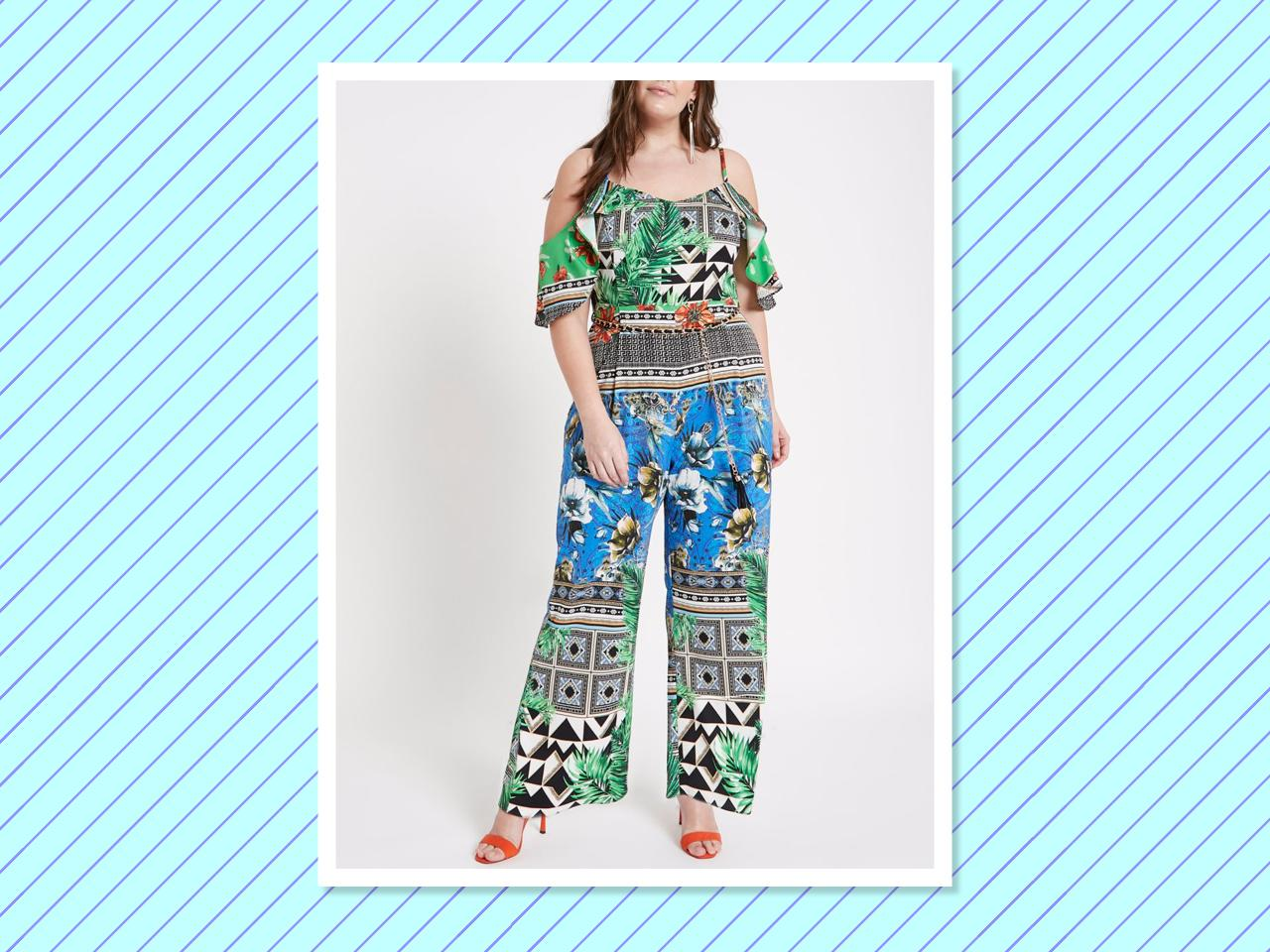 "<p>Plus Green Scarf Print Bardot Jumpsuit, $150, <a rel=""nofollow"" href=""https://us.riverisland.com/p/plus-green-scarf-print-bardot-jumpsuit-716462"">riverisland.com </a> </p>"