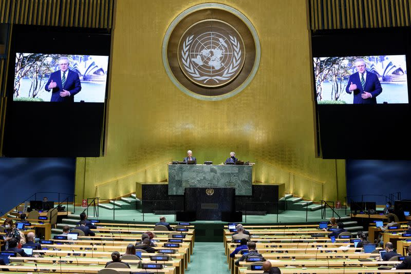 Scott Morrison, Prime Minister of Australia speaks virtually during the 75th annual U.N. General Assembly