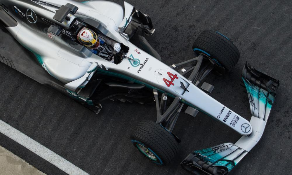 Lewis Hamilton in his 2017 Mercedes