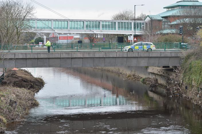 Meadowhall Way in Sheffield, South Yorks., where a driver fatally crashed off a bridge over the River Don, January 31 2021.