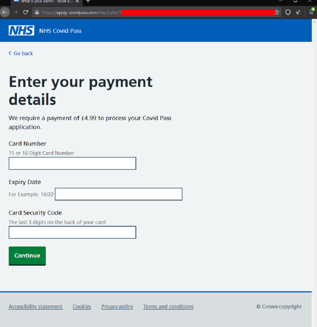 Screenshot of a webpage used as part of a scam targeting credit card details by posing as the NHS asking for payment to process a Covid Pass application