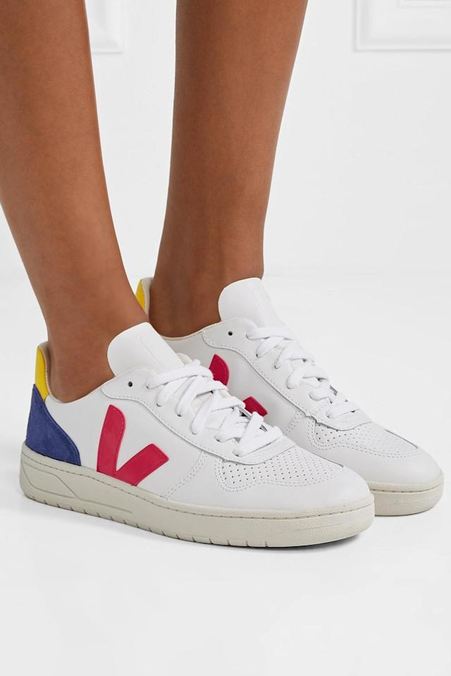 VEJA+ NET SUSTAIN V-10 suede and rubber-trimmed leather sneakers 特價:$705.9,原價:$905