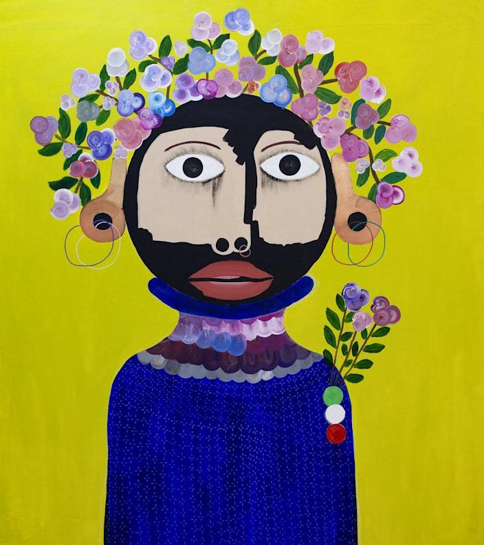 A painting of a figure with vitiligo-like pigmentation and a crown of flowers