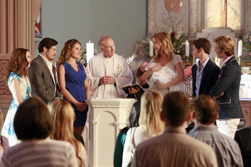 "Christa B. Allen, Nick Wechsler, Margarita Levieva, Daniel Graves, Emily VanCamp, Connor Paolo and Gabriel Mann in ""Revelations,"" the ninth episode of ""Revenge"" Season 2."