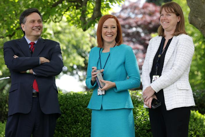 White House Chief of Staff Ron Klain, White House Press Secretary Jen Psaki and White House Communications Director Kate Bedingfield wait for President Joe Biden to deliver remarks on the COVID-19 response and vaccination program in the Rose Garden of the White House on May 13, 2021 in Washington, DC.