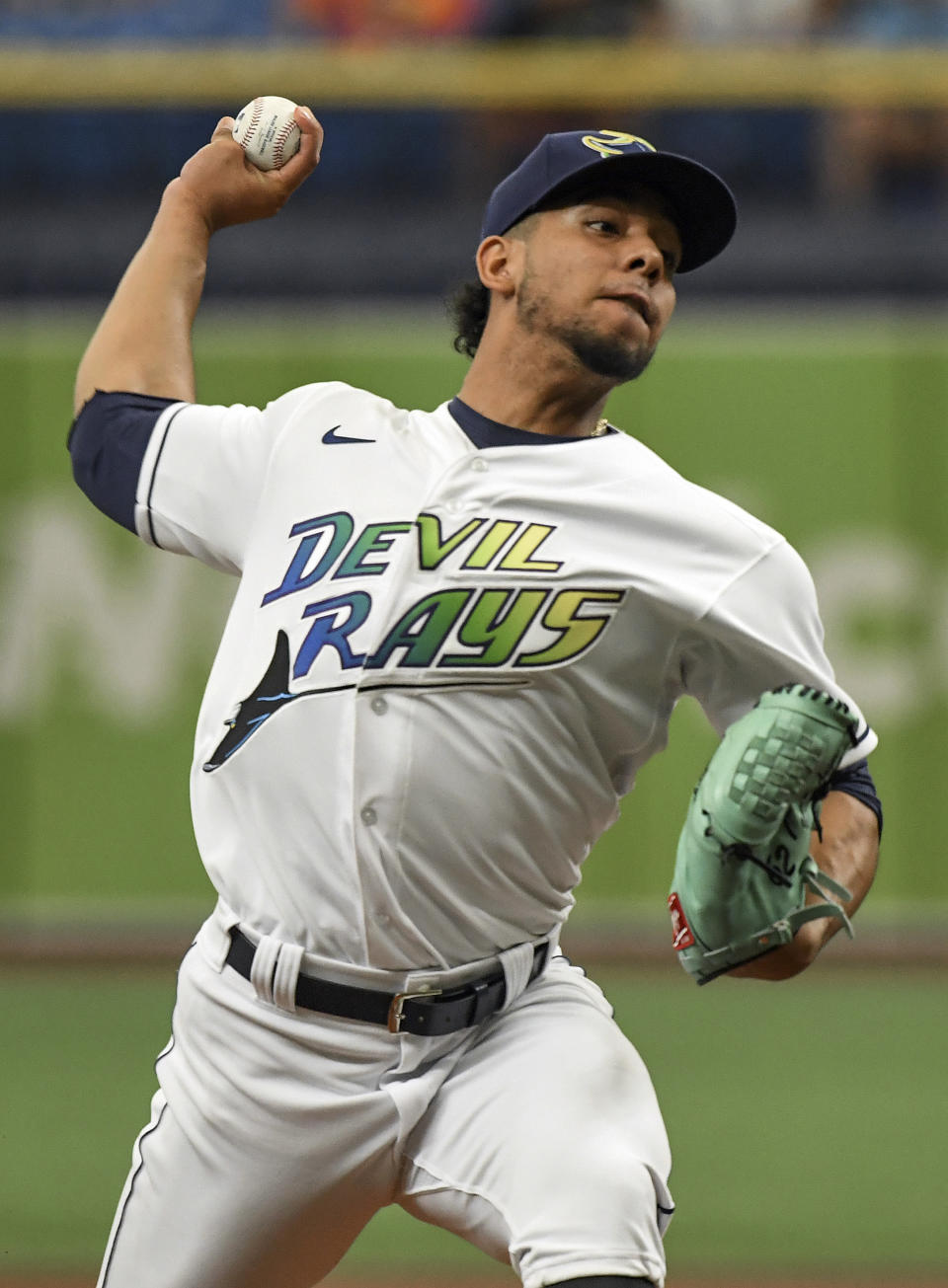 Tampa Bay Rays starter Luis Patino pitches against the Chicago White Sox during the first inning of a baseball game, Saturday, Aug. 21, 2021, in St. Petersburg, Fla. (AP Photo/Steve Nesius)