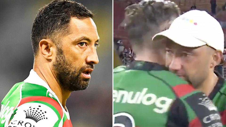 South Sydney veteran Benji Marshall teared up after Friday night's preliminary final win, explaining that a family friend had tragically lost their daughter to cancer during the week. Pictures: Getty Images/Fox Sports