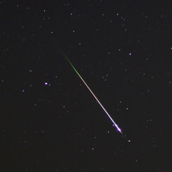 Night sky photographer Mike Hankey of Freeland, Md., captured this dazzling Leonid meteor on Nov. 17, 2012, during the peak of the annual Leonid meteor shower.