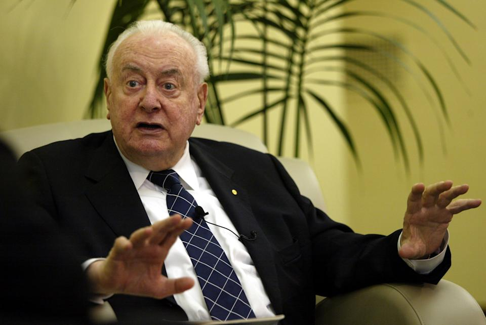 (AUSTRALIA OUT) Former Australian Prime Minister Gough Whitlam before delivering the keynote speech at the Whitehorse Business Week Breakfast at the Box Hill Town Hall, Melbourne, Victoria, 19 October 2004. THE AGE Picture by ANDREW DE LA RUE (Photo by Fairfax Media via Getty Images/Fairfax Media via Getty Images via Getty Images)