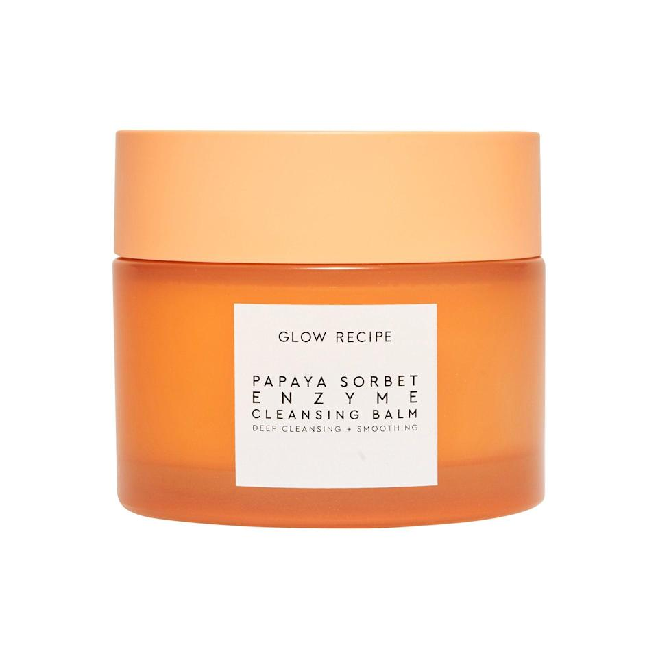 "<h3>Glow Recipe Papaya Sorbet Smoothing Enzyme Cleansing Balm & Makeup Remover</h3><br>This <a href=""https://www.refinery29.com/en-us/mvp-awards-2020"" rel=""nofollow noopener"" target=""_blank"" data-ylk=""slk:2020 MVP winner"" class=""link rapid-noclick-resp"">2020 MVP winner</a> melts off makeup like nothing else I've tried — and I've tried it all. Plus, the papaya enzymes offer gentle exfoliation so your complexion looks brighter and more even after continued use.<br><br><strong>Glow Recipe</strong> Papaya Sorbet Smoothing Enzyme Cleansing Balm & Makeup Remover, $, available at <a href=""https://go.skimresources.com/?id=30283X879131&url=https%3A%2F%2Ffave.co%2F3jCesMy"" rel=""nofollow noopener"" target=""_blank"" data-ylk=""slk:Sephora"" class=""link rapid-noclick-resp"">Sephora</a>"