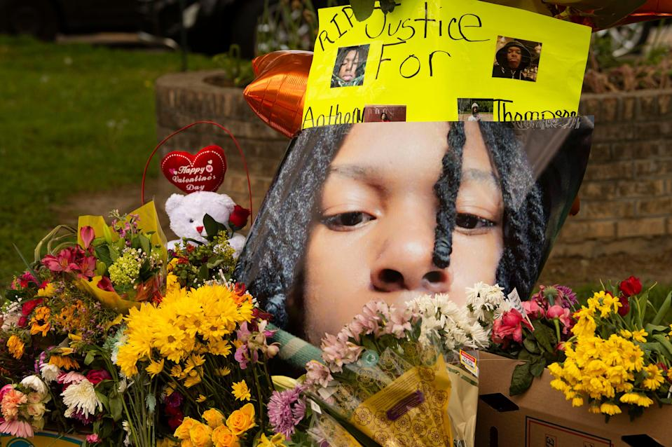 A memorial for Anthony Thompson Jr. on the sidewalk in front of Austin-East Magnet High School on Monday, April 19, 2021.
