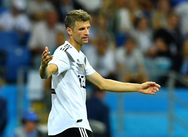 Soccer Football - World Cup - Group F - Germany vs Sweden - Fisht Stadium, Sochi, Russia - June 23, 2018 Germany's Thomas Muller reacts REUTERS/Dylan Martinez