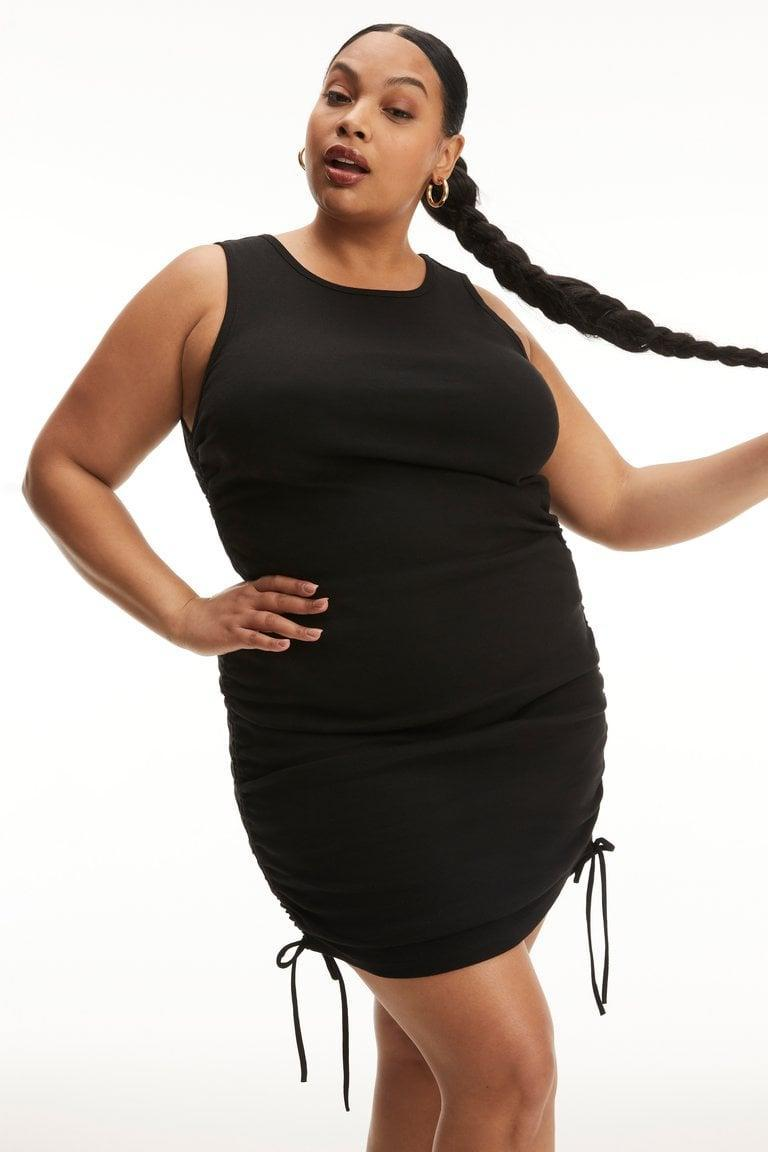 <p>Get all tied up in this sexy <span>Good American Ruched Tank Mini Dress</span> ($128).</p>