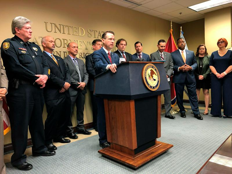 U.S. Attorney for the Western District of Tennessee Michael Dunavant discusses charges of illegally distributing opioids against more than 30 medical professionals. (Photo: Adrian Sainz/AP)