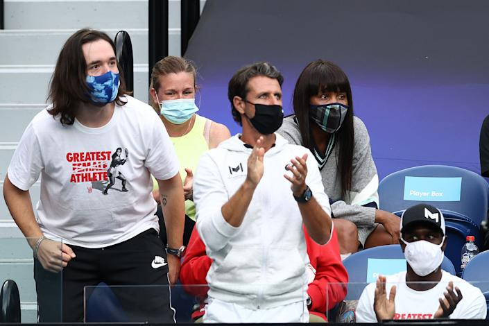 Alexis Ohanian, Patrick Mouratoglou, Jarmere Jenkins and Venus Williams watch the Women's Singles Quarterfinals match between Simona Halep of Romania and Serena Williams of the United States during the 2021 Australian Open at Melbourne Park on February 16, 2021 in Melbourne. (Photo: Matt King via Getty Images)