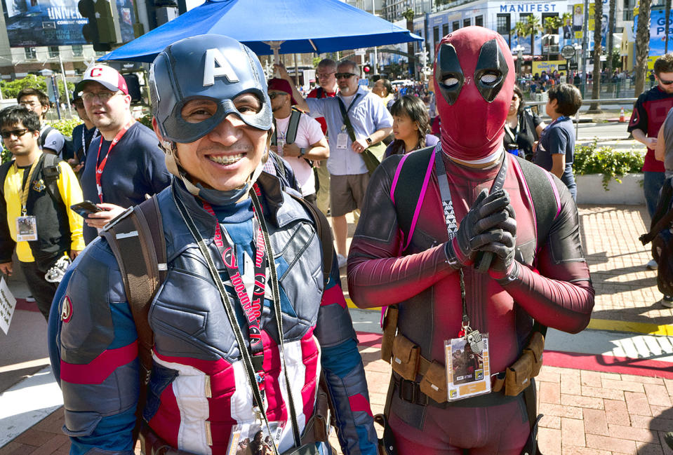 <p>Phuong Nguyen and Derrick Petry, both from Lafayette, La., dressed as Captain America and Deadpool at Comic-Con International on July 19, 2018, in San Diego. (Photo: Richard Vogel/AP) </p>