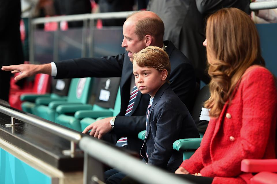 LONDON, ENGLAND - JUNE 29: Prince William, President of the Football Association along with Catherine, Duchess of Cambridge with Prince George during the UEFA Euro 2020 Championship Round of 16 match between England and Germany at Wembley Stadium on June 29, 2021 in London, England. (Photo by Eamonn McCormack - UEFA/UEFA via Getty Images)