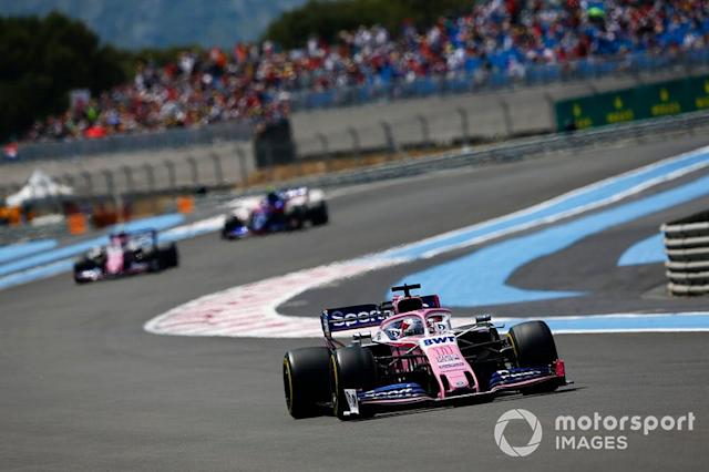 """Sergio Perez, Racing Point RP19, Lance Stroll, Racing Point RP19 <span class=""""copyright"""">Andy Hone / Motorsport Images</span>"""