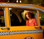 <p>On May 4, Brosnahan wore a pink ensemble while filming in a vintage cab. </p>