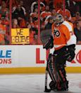 PHILADELPHIA, PA - MAY 08: Ilya Bryzgalov #30 of the Philadelphia Flyers prepares to tends net in warmups prior to playing against the New Jersey Devils in Game Five of the Eastern Conference Semifinals during the 2012 NHL Stanley Cup Playoffs at Wells Fargo Center on May 8, 2012 in Philadelphia, Pennsylvania. (Photo by Bruce Bennett/Getty Images)