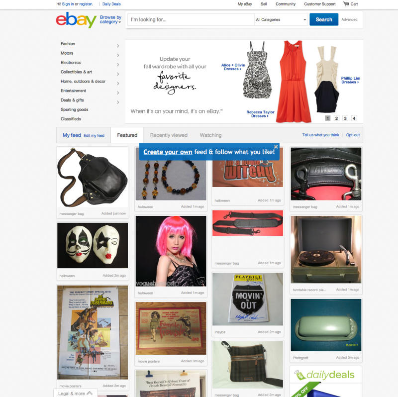 "This screenshot made Oct. 10, 2012, shows EBay's redesigned website meant to encourage visitors to browse and collect items they might want to buy later with something it calls the ""feed.""  The feature, reminiscent of popular sites like image-heavy Pinterest, shows users items based on things they purchased in the past or items they've clicked on the site. Shoppers can also edit their feed by adding or removing categories and individual items.  (AP Photo/Ebay)"