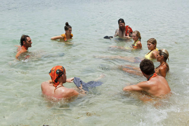 """There's Gonna be Hell to Pay"" - The Gota Tribe cools off during the third episode of ""Survivor: Caramoan - Fans vs. Favorites."""