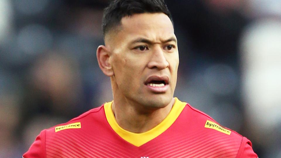 Israel Folau is reportedly willing to curb his social media activity if he signs with St George Illawarra and returns to the NRL. (Photo by Richard Sellers/PA Images via Getty Images)