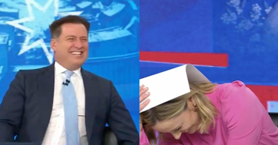 Today show host Allison Langdon laughs with her co-host Karl Stefanovic. Photo: Channel Nine.