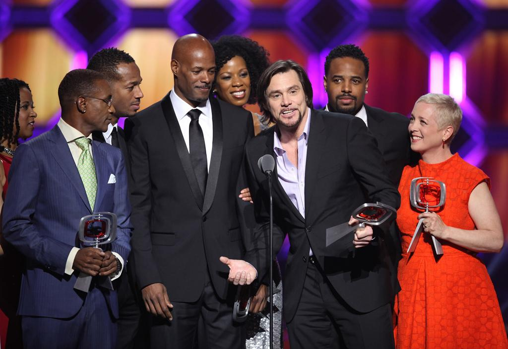 """Tommy Davidson, T'Keyah Crystal Keymah, Keenen Ivory Wayans, Shawn Wayans, Jim Carrey, and Kelly Coffield Park of """"<a href=""""http://tv.yahoo.com/in-living-color/show/103"""">In Living Color</a>"""" at the 10th Annual TV Land Awards at the Lexington Avenue Armory on April 14, 2012 in New York City."""