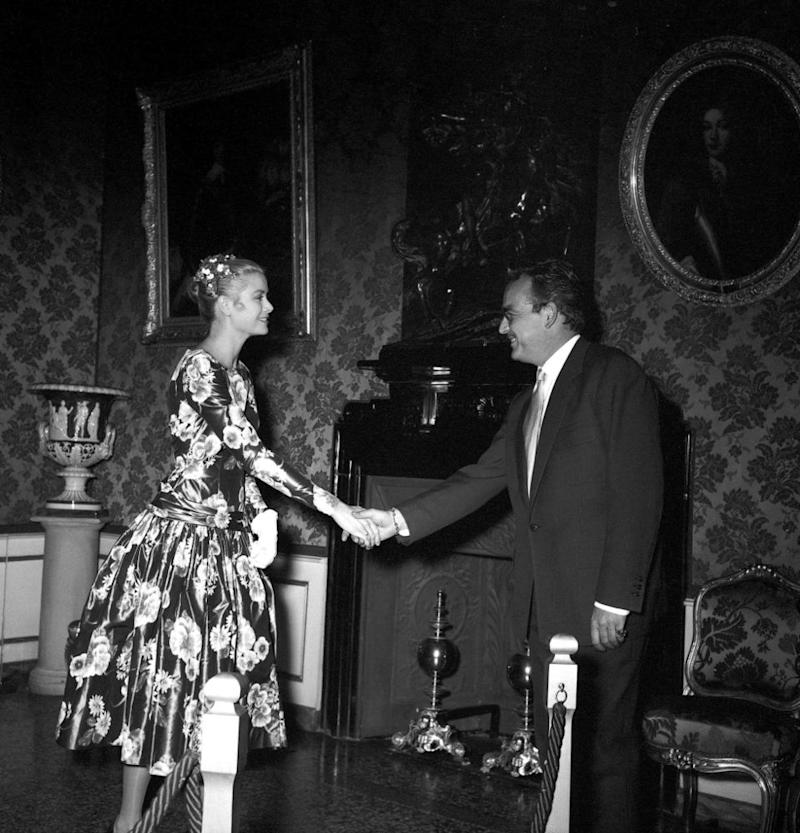 Princess Grace and Prince Rainier III of Monaco meeting for the first time at his Monaco Palace in 1955