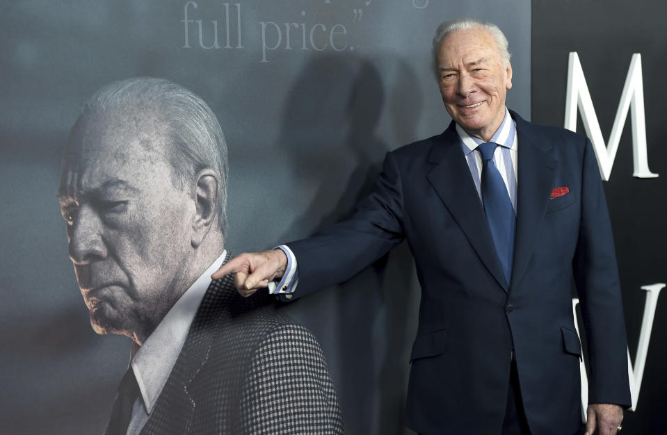 "FILE - Christopher Plummer arrives at the world premiere of ""All the Money in the World"" on Dec. 18, 2017, in Beverly Hills, Calif. Plummer, the dashing award-winning actor who played Captain von Trapp in the film ""The Sound of Music"" and at 82 became the oldest Academy Award winner in history, has died. He was 91. Plummer died Friday morning, Feb. 5, 2021, at his home in Connecticut with his wife, Elaine Taylor, by his side, said Lou Pitt, his longtime friend and manager. (Photo by Jordan Strauss/Invision/AP, File)"