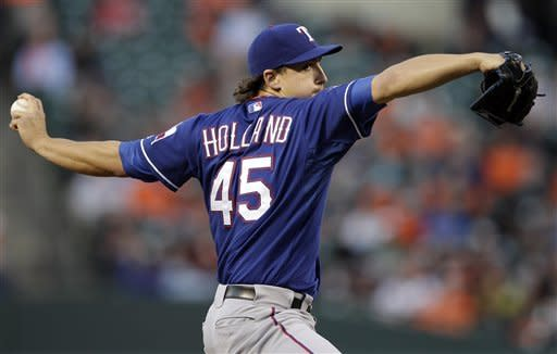 Texas Rangers starting pitcher Derek Holland throws to a Baltimore Orioles batter during the second inning of the second baseball game of a doubleheader in Baltimore, Thursday, May 10, 2012. (AP Photo/Patrick Semansky)
