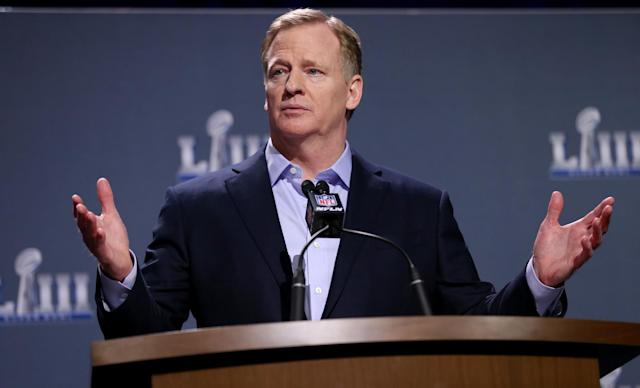 NFL commissioner Roger Goodell takes questions during his media availability on Jan. 30, 2019 in Atlanta, GA. (Boston Herald)