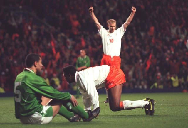 Patrick Kluivert's double denied Ireland a place at Euro 96 (John Giles/PA)