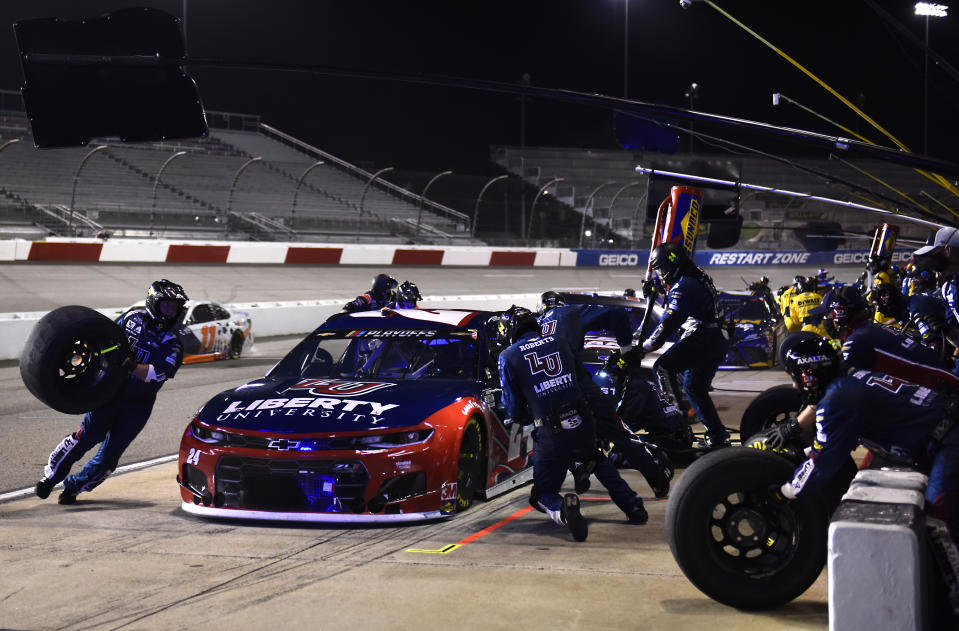 RICHMOND, VIRGINIA - SEPTEMBER 12: William Byron, driver of the #24 Liberty University Chevrolet, pits during the NASCAR Cup Series Federated Auto Parts 400 at Richmond Raceway on September 12, 2020 in Richmond, Virginia. (Photo by Jared C. Tilton/Getty Images)