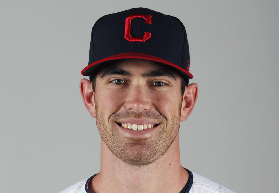 FILE - In this February 2020 file photo, Cleveland Indians' Shane Bieber poses for a photo during baseball spring training in Goodyear, Ariz. Bieber won the AL Cy Young Award on Wednesday night, Nov. 11, 2020. (AP Photo/Ralph Freso, File)