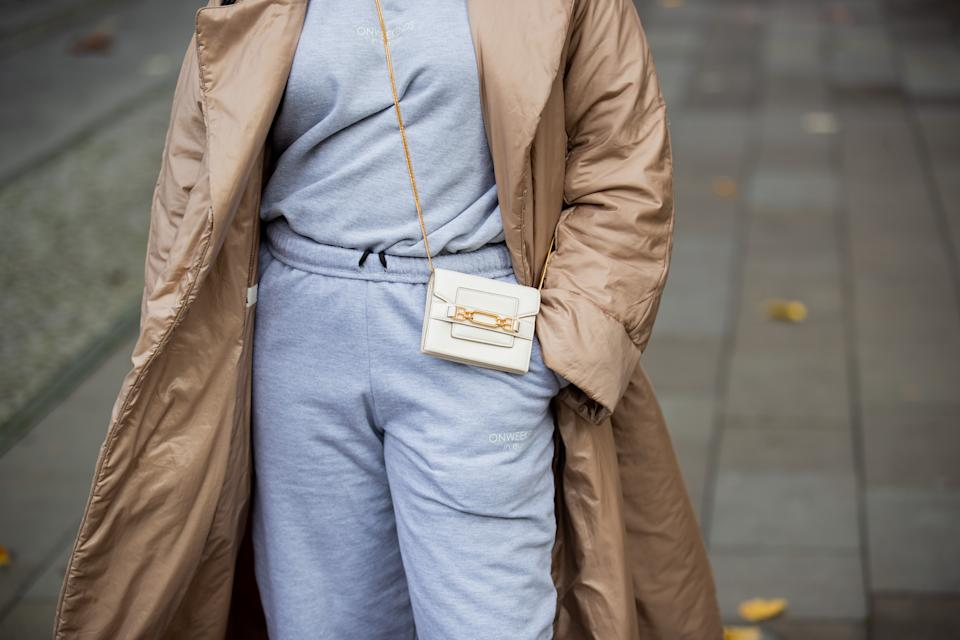 Lois Opoku is seen wearing beige puffer jacket Max Mara, jogger suit Onweekends, Bally micro bag on November 02, 2020 in Berlin, Germany. (Photo by Christian Vierig/Getty Images)