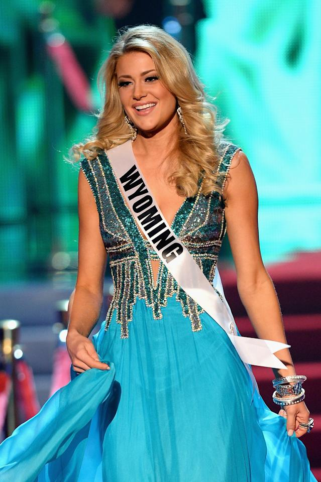 LAS VEGAS, NV - JUNE 16: Miss Wyoming USA Courtney Gifford walks onstage during the 2013 Miss USA pageant at PH Live at Planet Hollywood Resort & Casino on June 16, 2013 in Las Vegas, Nevada. (Photo by Ethan Miller/Getty Images)