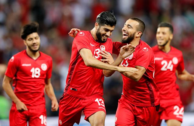 Soccer Football - International Friendly - Tunisia vs Turkey - Stade de Geneve, Geneva, Switzerland - June 1, 2018 Tunisia's Ferjani Sassi celebrates scoring their second goal with team mates REUTERS/Denis Balibouse