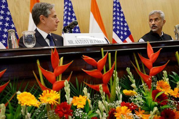 U.S. Secretary of State Antony Blinken, left, and Indian Foreign Minister SubrahmanyamJaishankar look at each other during a joint news conference at Jawaharlal Nehru Bhawan in New Delhi, India, on July 28, 2021.  (Jonathan Ernst/AP)