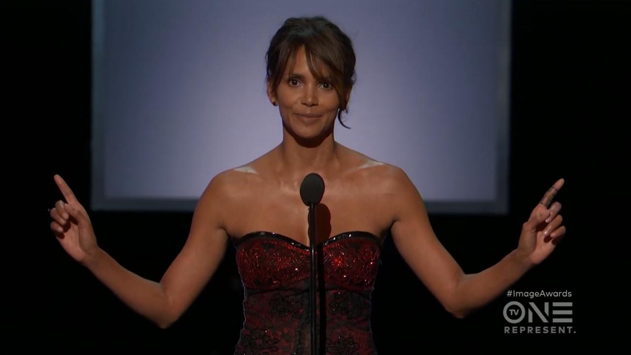 """The NAACP Image Awards joined the #TimesUp campaign by encouraging viewers to use their votes to bring about equality for all.  After the opening monologue, Kerry Washington,Tracee Ellis Ross, Lena Waithe, Angela Robinson, Jurnee Smollett-Bell, and Laverne Cox all took the stage to for an important #TimesUp message. Reading together, the women said, """"Time's up on complaining about an imperfect system if we aren't willing to fix it, time's up on our silence, time's up on the abuse of power."""" Robinson added, """"The midterms are a perfect moment for us to use our voices."""" During her acceptance speech for Outstanding Performance in comedy series, Ross reiterated the message, """"When we speak up and use our voices and vote, we make so much change, and our world needs it right now."""" Halle Berry quoted Martin Luther King, saying, """"Our lives begin to end the day we become silent about the things that matter."""" She added, """"Tonight is affirmation that we shall never ever, ever, ever, ever be silent again."""""""