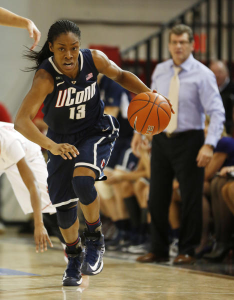 Connecticut guard Brianna Banks (13) breaks away during the first half of a NCAA college basketball game against St. John's, Saturday, Feb. 2, 2013, at St. John's University in New York. (AP Photo/John Minchillo)