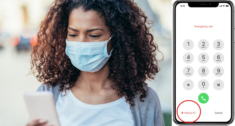 A woman wearing a surgical mask is using an iPhone to unlock the emergency contact information.