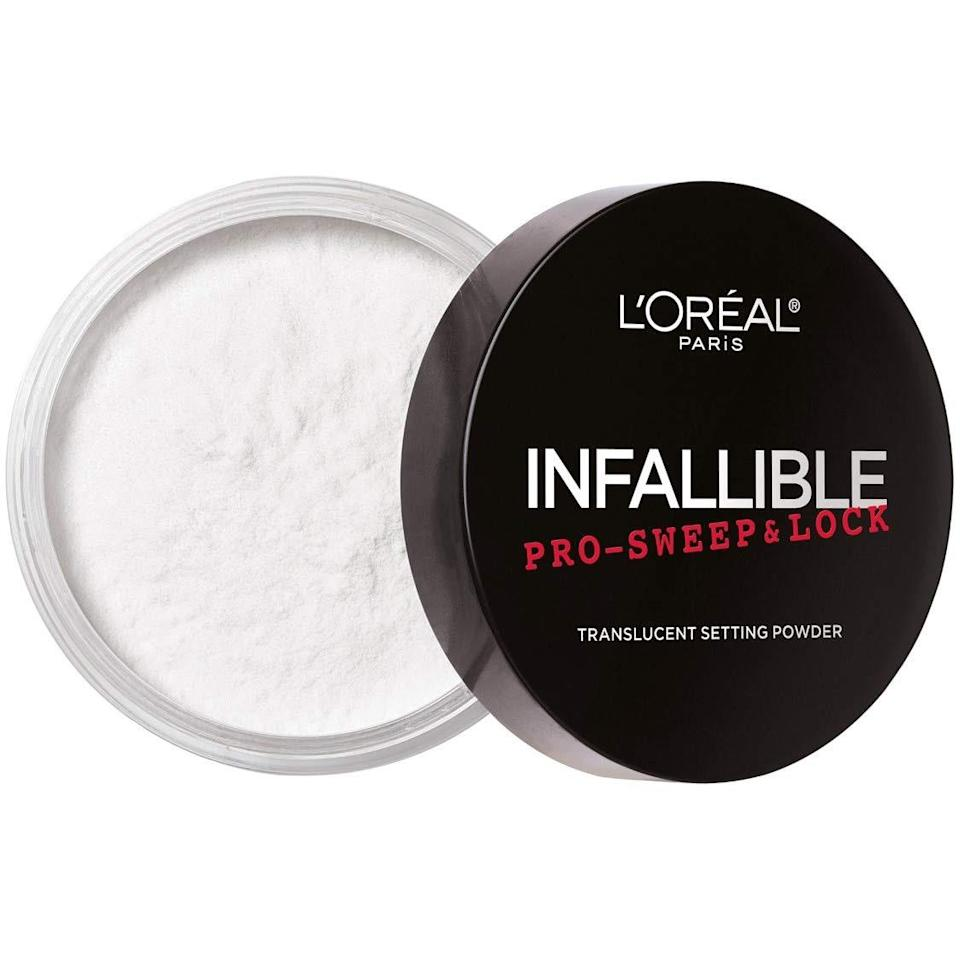 "<p>If there's one loose powder that proves drugstore formulas can hang with the rest of them, it's L'Oréal Paris Infallible Pro Sweep & Lock Loose Powder. Much like the rest of the brand's Infallible line, this translucent loose powder impresses makeup wearers every time for its mattifying, oil-absorbing powers.</p> <p><strong>$10</strong> (<a href=""https://shop-links.co/1711966855033681320"" rel=""nofollow noopener"" target=""_blank"" data-ylk=""slk:Shop Now"" class=""link rapid-noclick-resp"">Shop Now</a>)</p>"