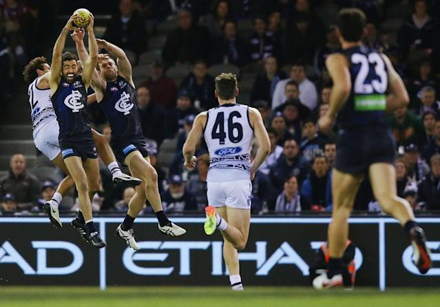 "<span class=""element-image__caption"">Kade Simpson takes a typically courageous mark for Carlton during the 2016 AFL season.</span> <span class=""element-image__credit"">Photograph: Michael Dodge/Getty Images</span>"