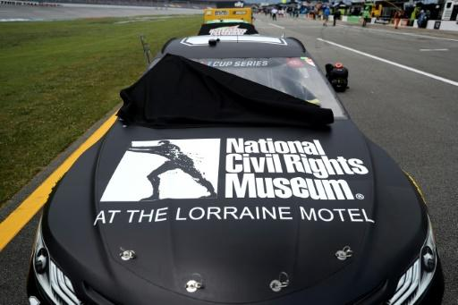 The #11 Drive for Change Toyota, driven by Denny Hamlin -- featuring the logo of the National Civil Rights Museum -- waits on the grid prior to the NASCAR Cup Series race at Talladega that was postponed for a day by thunderstorms
