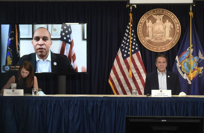New York Gov. Andrew Cuomo briefs the media during a coronavirus news conference at his office in New York City, Saturday, May 9, 2020. (John Roca/New York Post via AP, Pool)