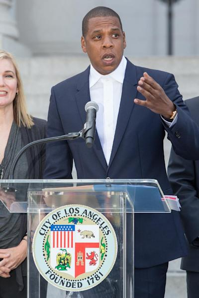 Jay-Z Carter, also known as Shawn carter, announces the Made in America Festival during a news conference at City Hall on Wednesday, April 16, 2014 in Los Angeles. The music mogul was joined by the city's mayor Wednesday at Los Angeles City Hall to announce the two-day concert, which is planned for Labor Day weekend. (Photo by Paul A. Hebert/Invision/AP)