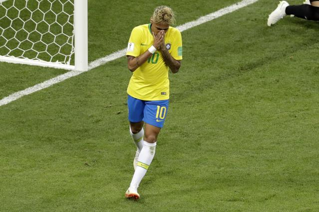 Brazil's Neymar reacts after failing to score during the group E match between Brazil and Switzerland at the 2018 soccer World Cup in the Rostov Arena in Rostov-on-Don, Russia, Sunday, June 17, 2018. (AP Photo/Andrew Medichini)